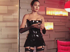 Angelina Jolie black dominatrix outfit