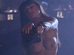 Demi Moore striptease in black lingerie
