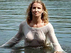 Alexandra Lamy nipples in see thru wet shirt