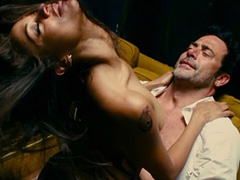 Zoe Saldana topless riding a guy in bed
