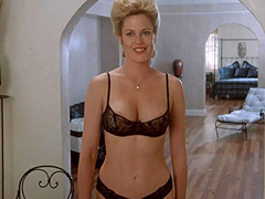 Melanie Griffith hot in black see thru lingerie