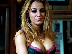 Blake Lively cleavage in a very low cut top