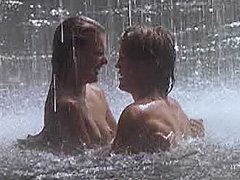 Milla Jovovich hot sex under a waterfall