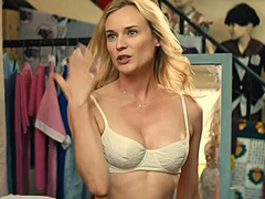 Diane Kruger busting cleavage in a white bra