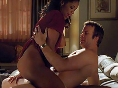 Merrin Dungey topless riding a guy in bed