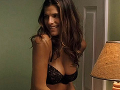 Lake Bell busts nice cleavage in a sexy bra