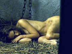 Natalie Portman nude lying on hay on the floor