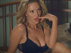 Uma Thurman busts hot cleavage in lingerie