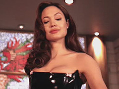 Angelina Jolie in sexy latex lingerie