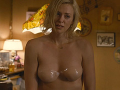 Charlize Theron topless shows her nice tits