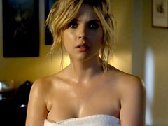 Ashley Benson nude but covered in the shower