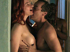 Lucy Lawless nude sex against a wall