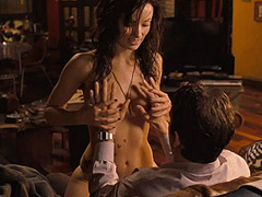 Olivia Wilde topless climbs into the guys lap
