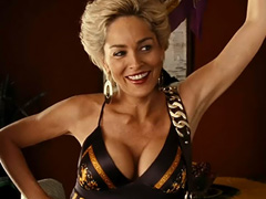 Sharon Stone showing off massive cleavage