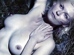 Kirsten Dunst topless touch her big breasts