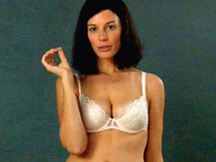 Jessica Pare busty in a sex white lingerie