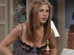 Jennifer Aniston cleavage in hot lingerie