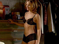 Kelly Overton sexy in black lingerie