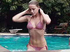 Amber Heard sexy in a red polka-dot bikini