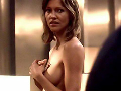 Tricia Helfer nude love scene in bed