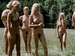 Brigitte Lahaie jogging nude with girls