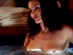 Jennifer Wenger topless in a hot tub