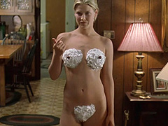 Ali Larter nude wearing only a whipped cream
