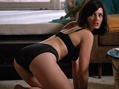 Jessica Pare hot in skimpy black lingerie