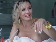 Cameron Diaz naked covered with nipple peek